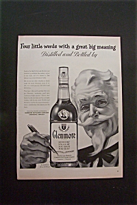 1950's Glenmore Whiskey With Man Pointing Pen At Bottle