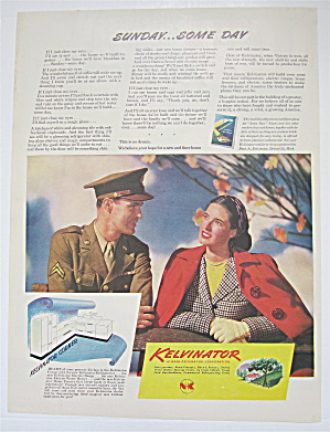 1944 Kelvinator with a Woman & a Soldier Talking  (Image1)