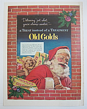 1952 Old Gold Cigarettes With Santa Claus Holding A Bag (Image1)