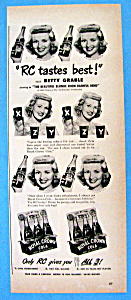 Vintage Ad: 1949 Royal Crown Cola W/ Betty Grable