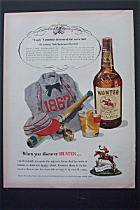 1951 Hunter Whiskey With Baseball Uniform, Bat & Ball