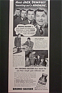 Vintage Ad: 1940 Bromo Seltzer With Jack Dempsey