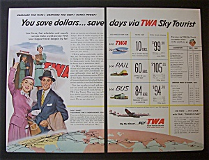 Vintage Ad: 1955 Twa Airlines (2 Page)