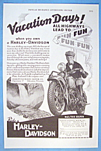 1937 Harley Davidson Motorcycle with Man On Bike (Image1)