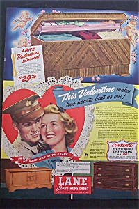 1943 Lane Cedar Hope Chest With Soldier & Woman