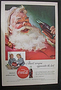 1955 Coca Cola (Coke) with Santa Claus & Bottle Of Coke (Image1)