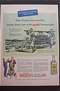 1945 Hiram Walker's Gin With Pre War Quality