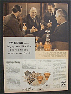 Vintage Ad: 1940 Wine with Baseball's Ty Cobb (Image1)