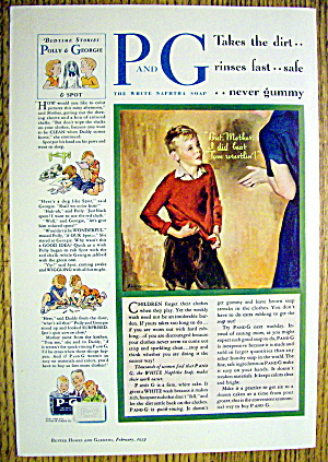 1933 P & G The White Naphtha Soap W/boy & Woman Talking