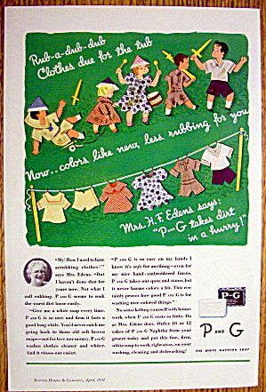 1934 P & G The White Naphtha Soap W/clothes On Line