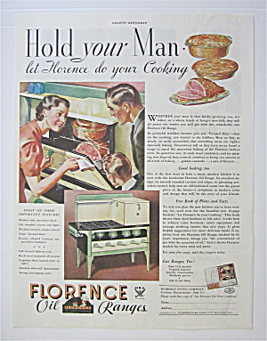 1934 Florence Oil Range w/Family Looking At Ham In Oven (Image1)