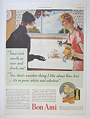 1934 Bon Ami With Women Talking About A Clean Sink