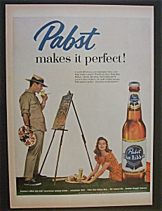 1958 Pabst Blue Ribbon Beer with Man Taking A Break (Image1)