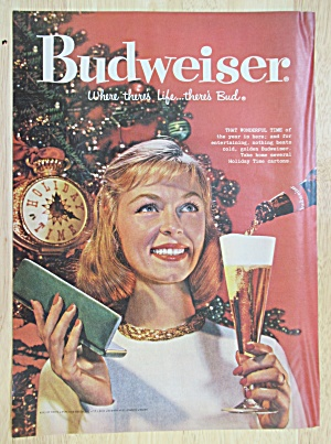 1958 Budweiser Beer With Woman Holding A Glass