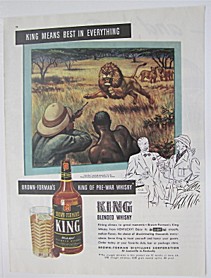 1946 King Whiskey With Lion Hunt By Walter A Weber