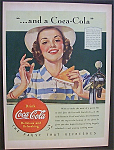 1940 Coca Cola (Coke) with Woman Eating (Image1)