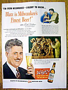 Vintage Ad: 1949 Blatz Beer With Sculptor Dick Wiken