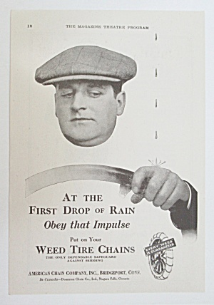 1919 Weed Tire Chains with Man Driving w/ Dripping Rain (Image1)
