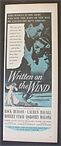 1956  Movie  Ad  for  Written  On  The  Wind (Image1)