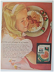 1955 Kellogg's Rice Krispies W/girl's Head Over Bowl