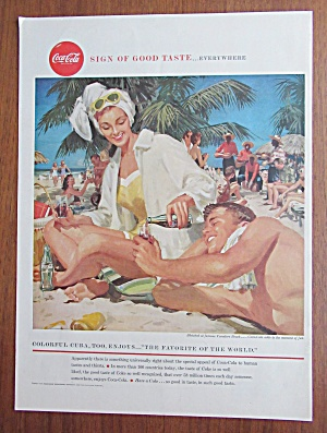 1958 Coca Cola (Coke) with Man & Woman on a Beach (Image1)