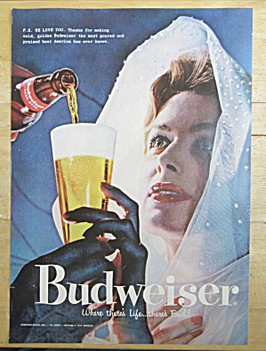 1958 Budweiser Beer With Woman Having Her Beer Poured