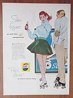 1958 Pepsi Cola With A Man & Woman On Roller Skates
