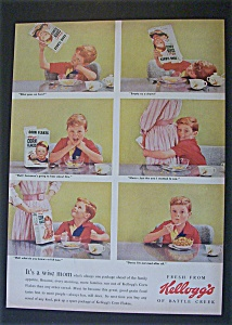1955 Kellogg's Corn Flakes Cereal With A Little Sad Boy