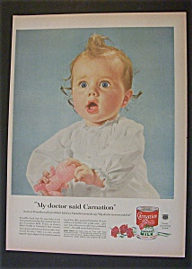 1955 Carnation Evaporated Milk With Blue Eyed Baby