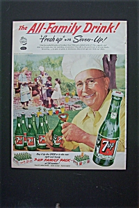 1952 7 Up (Seven Up) With Man Opening A Bottle