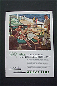 1953 Grace Line Cruise With 2 Women On Santa Cruise