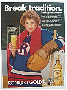 1982 Ronrico Gold Rum with a Woman Holding a Drink (Image1)