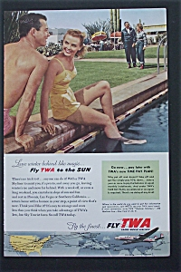 1954 Fly Twa With Couple Sitting By The Pool