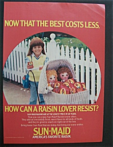 1984 Sun-maid Raisins With A Little Girl & Two Dolls