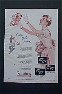 1954 Palladium Platinum w/ Bridesmaid Catching Bouquet (Image1)