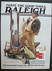 1977 Raleigh Cigarettes W/ Man Posing In Flying Jacket