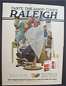 1977 Raleigh Cigarettes W/barber Blow Drying Man's Hair