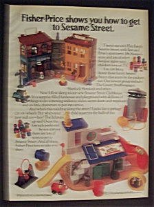 1977 Fisher-price Sesame Street W/building & Characters