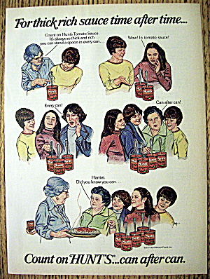 1977 Hunt's Tomato Sauce With People Showing Thickness