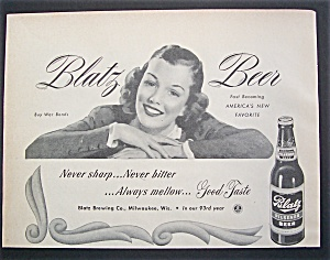 1944 Blatz Beer With A Woman Smiling