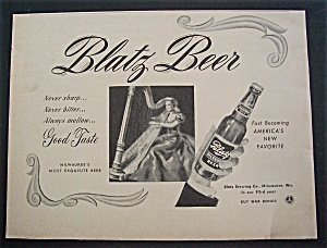 1944 Blatz Beer with Woman Playing a Harp (Image1)