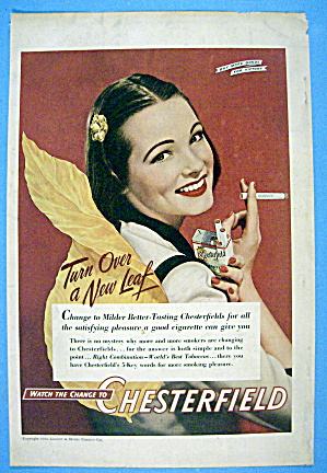 1944 Chesterfield Cigarettes W/ Woman Smoking Cigarette