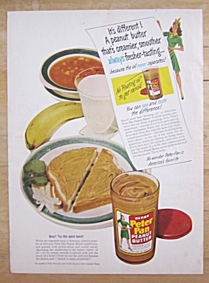 1948 Peter Pan Peanut Butter With Sandwich & Soup