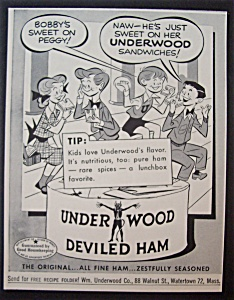 1952 Underwood Deviled Ham With Kids Eating Sandwiches