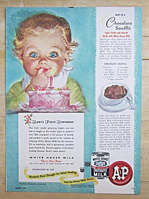 1948 White House Evaporated Milk W/ Baby's 1st Birthday