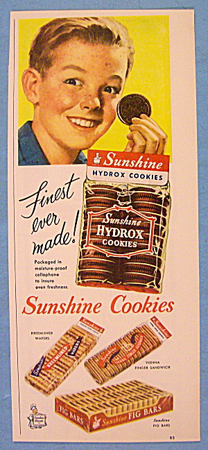 1952 Sunshine Hydrox Cookies With Boy Holding A Cookie