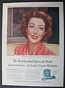 Vintage Ad:1952 Lustre Creme Shampoo With Loretta Young