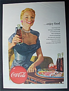 1952 Coca Cola (Coke) With Woman Holding A Bottle