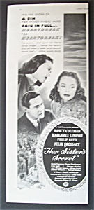 1946 Movie Ad For Her Sister's Secret