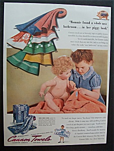 1942 Cannon Towels with Little Girl Wiping Her Doll (Image1)